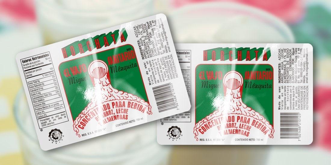 Etiqueta horchata El Vaso Sanitario