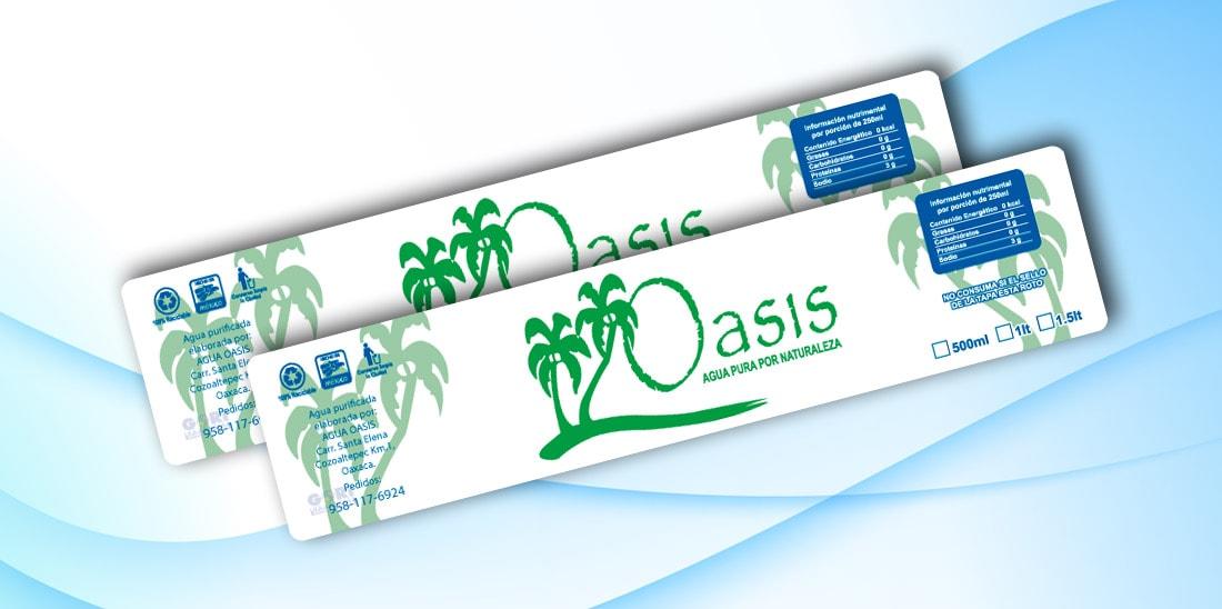 Etiquetas Autoadheribles Agua Oasis