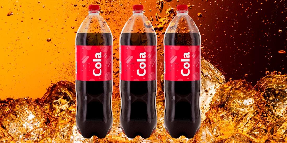 Etiquetas wrap around para refrescos de cola