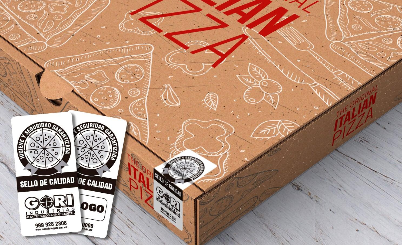 Etiquetas autoadhesivas para pizzas