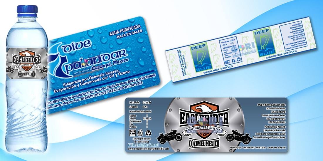 Agua Dicossa etiquetas adheribles